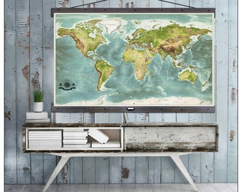 Worlds Most DetailedTravel Map. Largest Travel Maps. 40x60 Hanging Map printed on Canvas. Push Pin Map. 2016 Geography. Map 602