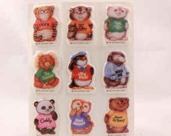 Vintage 1980 Hallmark Puffy Cute Shirt Tales  Stickers. 4 Sealed Sheets