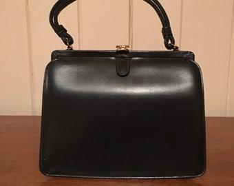 1950s Top Clasp Navy Handbag