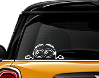 Minion decal, Disney character, sticker decal, FREE SHIPPING, laptop decal, window sticker, Minion peeking #193