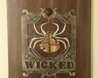 Set of 2 of Wicked Spider Steampunk Inspired Collage Paintings