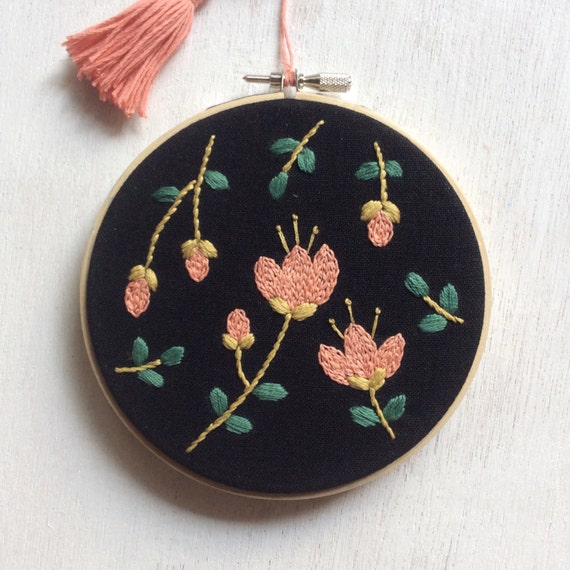 Floral embroidery hoop art cm in diameter by riaparamita