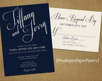 Elegant Navy and Ivory Wedding Invitation,Cursive Script,Traditional,Romantic,Simple,Chic,Opt RSVP Card,Customizable With Ivory Envelopes