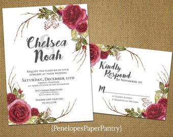 Elegant Christmas Wedding Invitations,Cranberry,Gray,Roses,Shimmery,Rustic,Romantic,Shabby Chic,Custom,Printed Invitation,Wedding Set