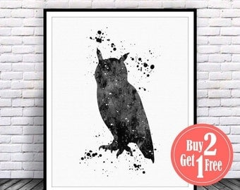SALE: Black Owl art print, owl wall decor, owl Illustration, owl print, owl painting watercolor wall art, living room wall art, Watercolor A