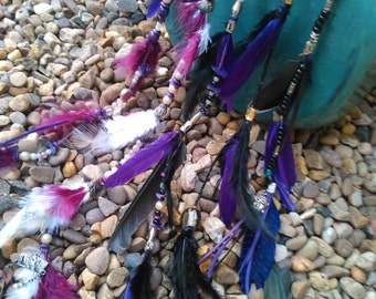 feather hair extension clip made with vintage beads