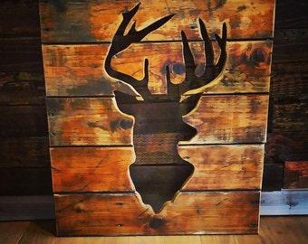 Deer Head Raised Home Decor - Reclaimed Wood Deer Piece