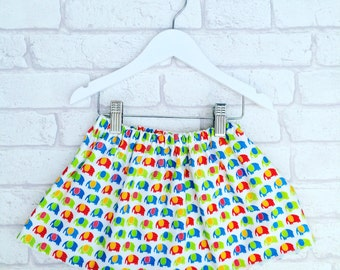 Elephant Baby Skirt, Fully Lined, Age 0-6 years, Made to Order, Baby Outfit, Handmade in the UK