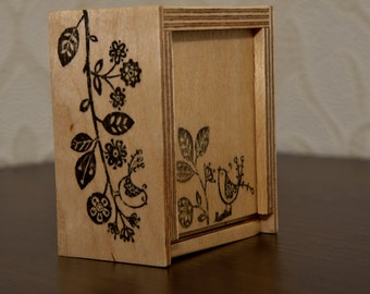 Small decorated plywood box