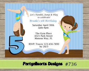 DIY - gymnastic Girls Party Invitations