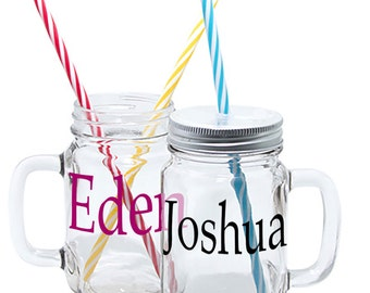 Personalised Mason Glass Jar Mugs With Straw  - Personalised With any Name, Boys Gift, Girls Gifts