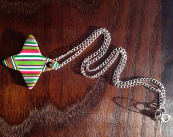 Impish - Bright Striped Pendant Necklace