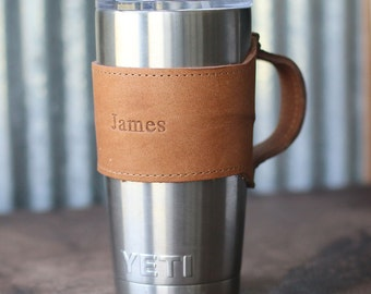 Personalized Groomsmen Gift-The Rocket City for Yeti 20oz Rambler Tumbler Personalized Leather Drink Cooler Wrap w/ Handle in Tan - Wedding