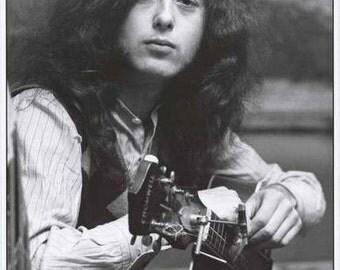 Jimmy Page Led Zeppelin 1970 Portrait B/W  Rare Poster