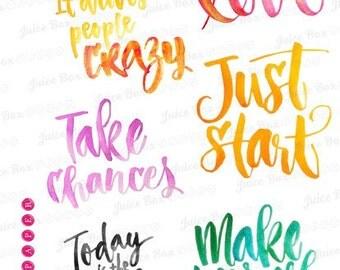 Set of 6 Brush Script Motivational Quote Stickers