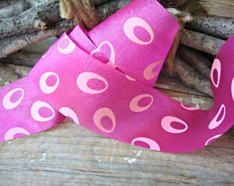2 Yards - Hot Pink Fuchsia Silky Ribbon with Light Pink Ovals