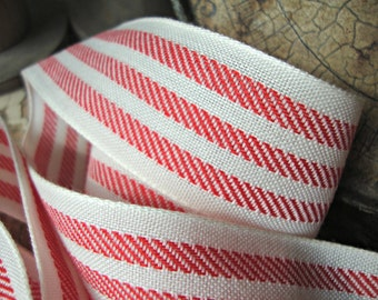 Farmhouse Red and Ivory Stripe Ticking Ribbon