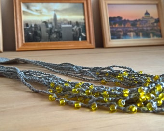 Crochet linen necklace / Hanmade necklace / Natural linen necklace / Linen jewelry