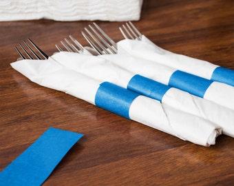 25 Blue Self Adhesive Napkin Bands/Napkin Bands/Self Adhesive Napkin Bands/White Napkin Bands/Blue Napkin Bands