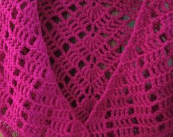 Shawl ~ Crochet Shawl Shrug ~ Boho Style Shawl ~ Wedding Shawl ~ Prayer Shawl ~ 1970's crochet shawl ~ Pink Shawl