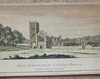 Antique hand tinted engraving 'Canoby Fontanensis ab Occidente Prospectus