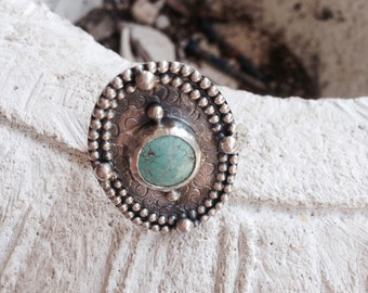 Sterling Silver and Turquoise ring // statement ring // adorned // turquoise // number eight mine // Gift for her // adorned