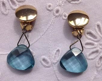 Blue Faceted Vintage Earrings.