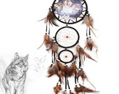 "Handmade Native American Triple Dream Catcher Traditional Wolf Totem (approx. 30"" Long)"