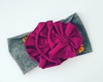 Magenta flowered jersey knit headband