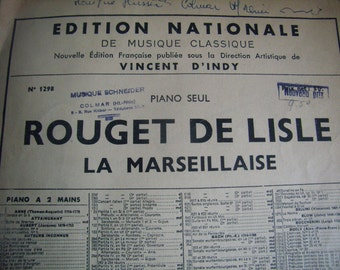 Old partition of music, La Marseillaise, French National Anthem, 1945, piano,