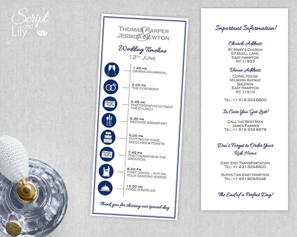 Wedding Timeline Invitations: Custom Wedding Timeline Printable DIY Program Order Of