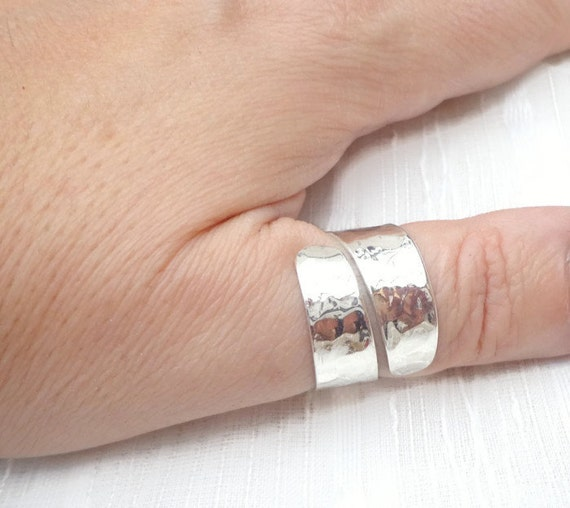 thumb sterling ring hammered silver ring wedding sterling