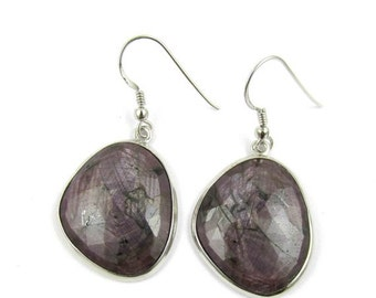 20% off Ruby Earrings - Ruby Silver Earrings - Rose Cut Ruby Earrings - Ruby Bezels Earring - 925 Solid Sterling Silver Earring Dangler Drop