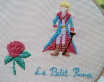The Little Prince / Le Petit Prince / Embroidery Hoop Art /