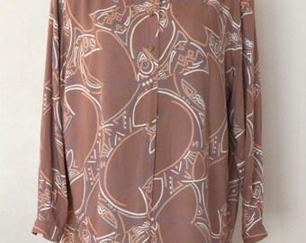 MARIMEKKO Blouse Women's Shirt Long Sleeves Marimekko Vintage Shirt 1970s Summer Tunic Button Down Front Oversized Blouse Medium size
