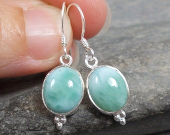 Blue Larimar and 925 Silver Drop Earrings