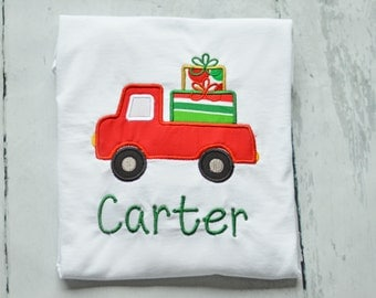 Boys Truck Christmas Shirt: Personalized Embroidery