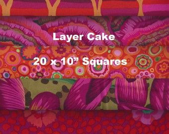 """LAYER CAKE 10"""" x 10"""" Squares x 20 (4 each of 5 different fabrics) - Kaffe Fassett Collective 2016 - RED #1"""