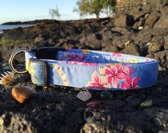 Hawaiian Plumeria Dog Collar w/ Healing Stones - Made In Hawaii - Blue