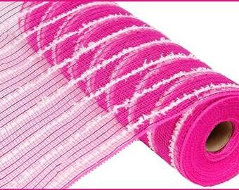 "10.5""X10yd Snowdrift/Poly/Metallic Foil Hot Pink/White Deco Mesh/Wreath Supplies/RY810064"