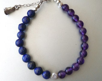 Amethyst & Lapis Lazuli BRACELET with Sterling Extender Chain and Rose Bud Charm