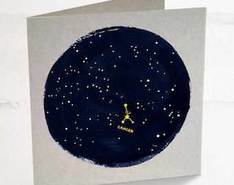 Cancer Horoscope Astrology Birthday Card, Star sign zodiac with a minimalist astrology constellation design