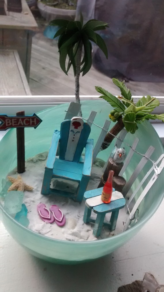 Desktop Beach Miniature Beach Ocean Adirondack Chair
