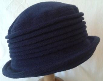 Navy fleece handmade cloche hat