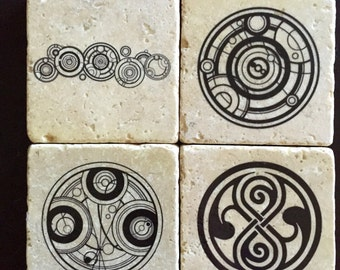 Doctor Who Coasters - Gallifreyan - Time Lord Coasters - The Doctor - Time Lord Symbol - Geekery - Doctor Who - Dr. Who Coasters - Set of 4