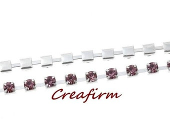 2 m silver rhinestone chain purple 3mm