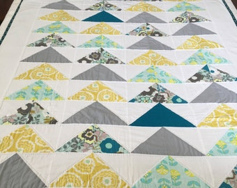 "Modern Quilt - Hand Quilted - Flying Geese - Teal, Aqua, Yellow and Gray - 52"" x 74"""