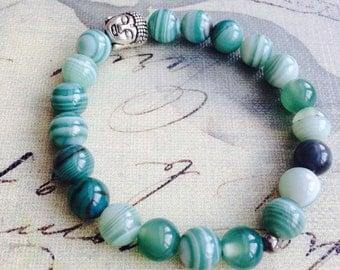 Stretchable bracelet, boudha, green, agate, semi precious stone, jewelry