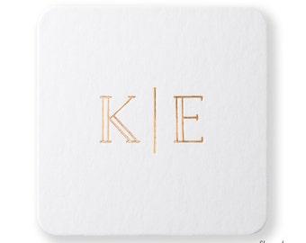 INITIALS COASTERS, set of 25 – Personalized Wedding Coasters, Custom Foil Stamped Coasters, Wedding Favors, Reception Décor, Wedding Decor