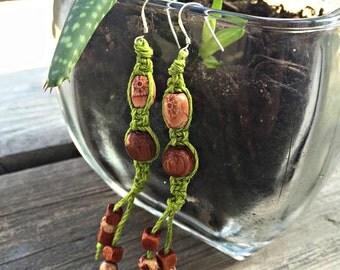 Green Hemp Dangle Earrings